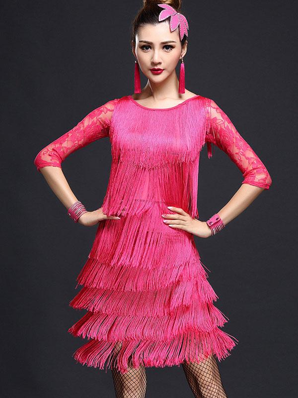 Vestido de baile latino de nilón flecos para mujeres - Milanoo.com