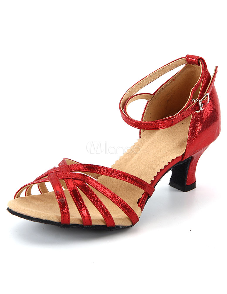 Zapatos sexy de bailes latinos de tela-brillantes ZjhLksDvuq
