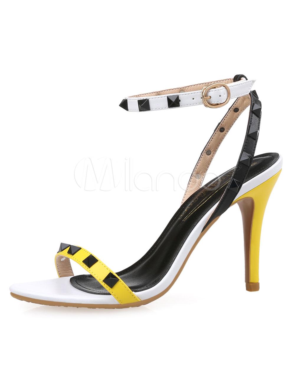 Buy Yellow Stud Sandals Straps PU Heels for Women for $37.99 in Milanoo store