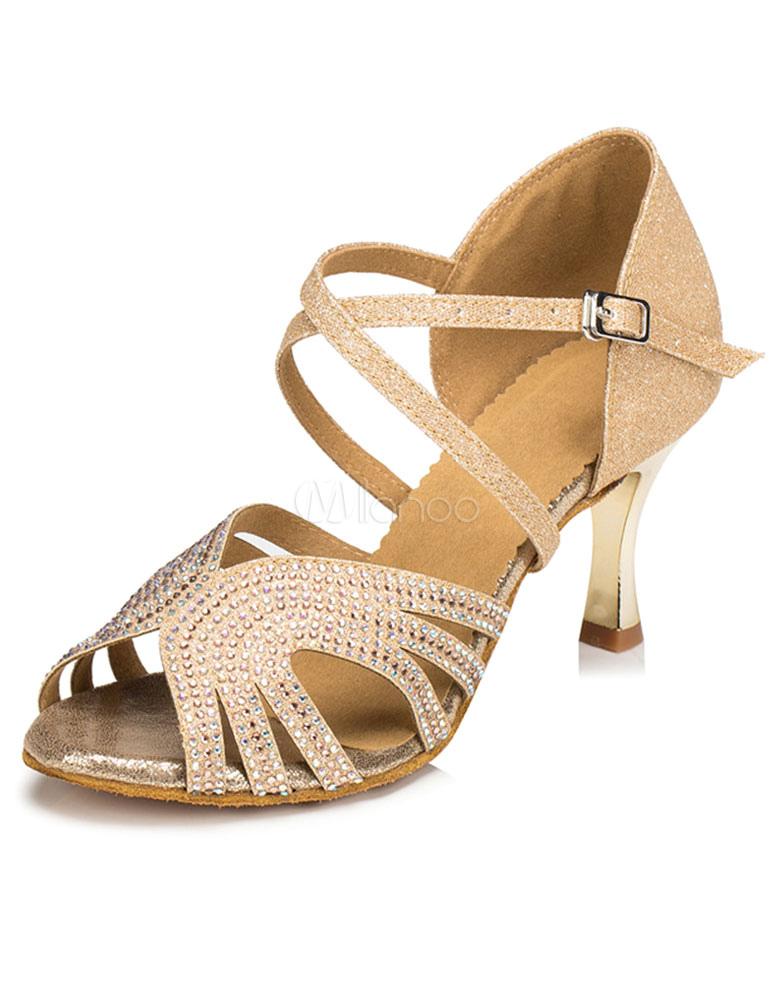 Peep Toe Latin Dance Sandals Gold Ballroom Heels for Women
