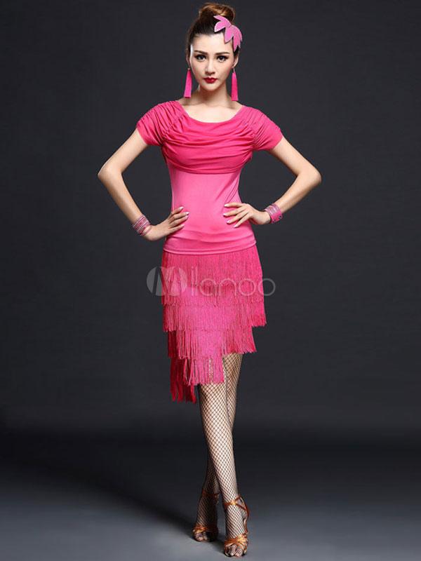 Vestido de baile latino de fibra sintética flecos de estilo simple ...