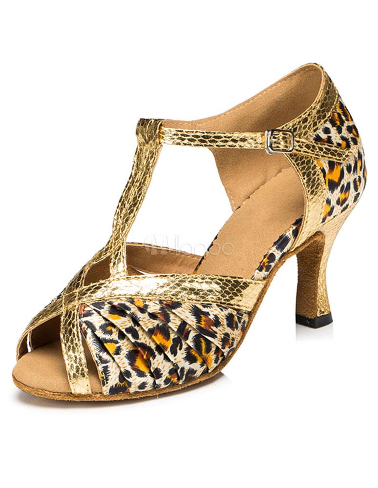 bfe2d7088 Women's Latin Dance Sandals Leopard Print Ballroom Heels - Milanoo.com
