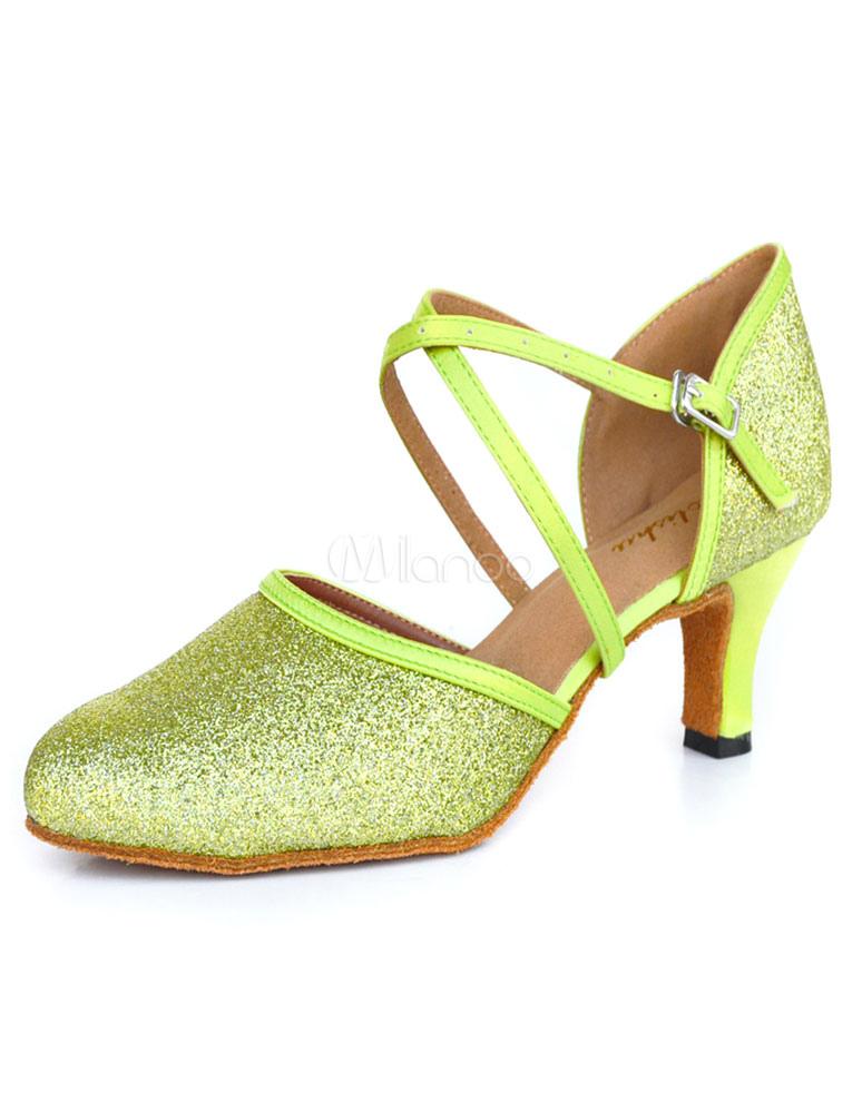 Lime Green Latin Dance Sandals Glitter Ballroom Heels for Women