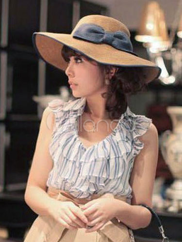 Pretty Woven Women's Hat with Bow and Grey Ribbon