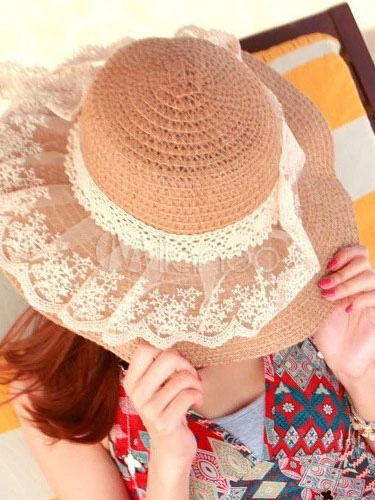 Khaki Straw Hats For Women Beach Lace Hat
