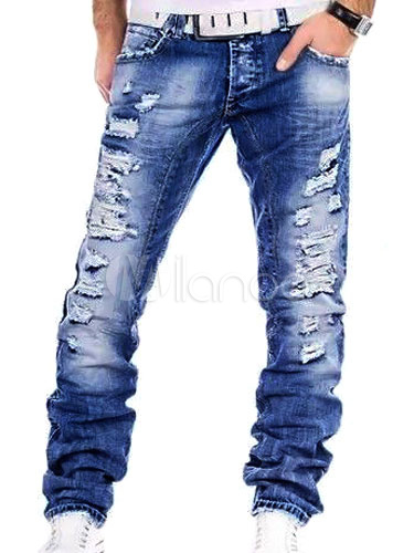 Buy Men Ripped Jean Distressed Denim Pant Blue Straight Leg Jeans for $42.29 in Milanoo store
