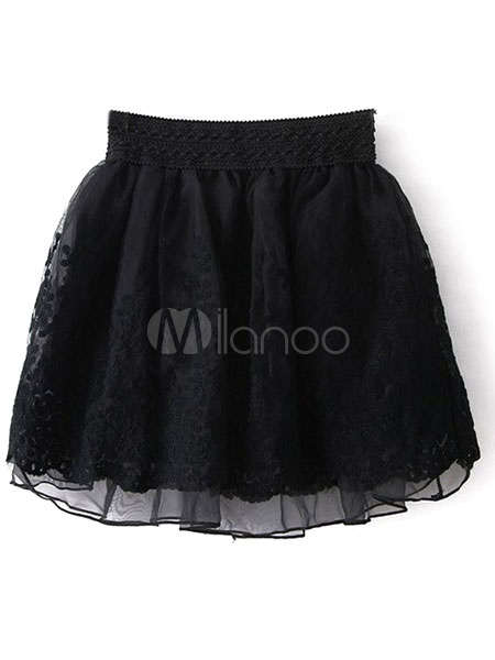 Embroidered Lace Tulle Tutu Skirt For Woman Cheap clothes, free shipping worldwide