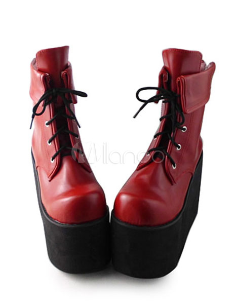 Red Lolita High Platform Short Boots