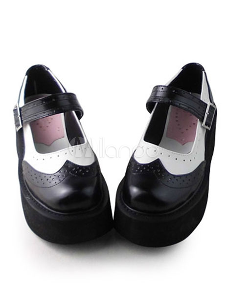 Black White Lolita Shoes High Platform