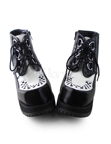 Matte Black White Lolita Square Heels Shoes