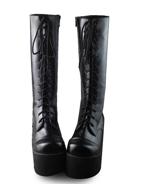 Matte Gothic Black Lolita Boots High Platform
