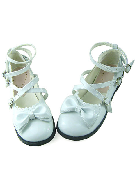 Sweet Lolita Shoes Low Heels with Bows and Trim