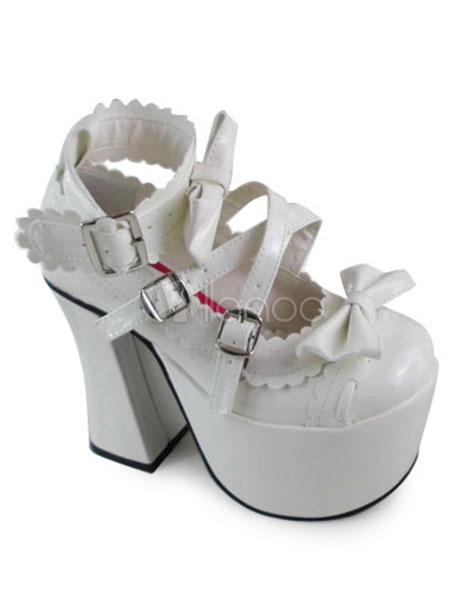 Blancos Zapatos Lolita Tacón Cuadrados Lazos Trim mMmMwF1sG