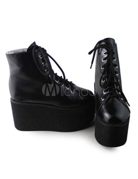 Matte Black Lolita High Platform with Shoelace