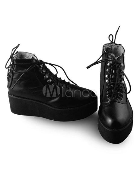 Lolita Zapatos Góticos Negros Alta Platforma cI9nT