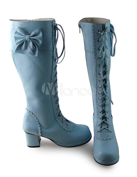 Buy Matte Light Blue Lolita Boots Square Heels with Sweet Bows for $117.99 in Milanoo store