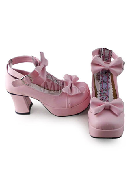 Sweet Matte Pink Lolita Heels Shoes with Two Bows