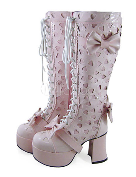Sweet Lolita Boots with Hallow Heart Bows and Shoelace