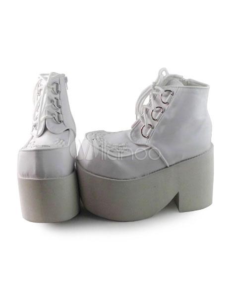 Matte White Lolita Heels High Platform