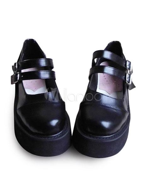 Matte Black Lolita Shoes High Platform