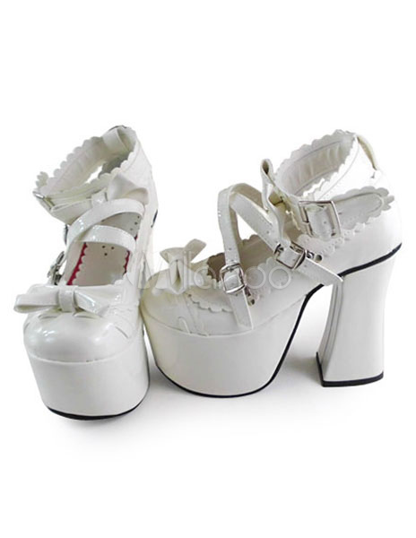 Glossy White Lolita Square Heels Shose with Bows and Trim