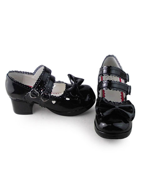 Glossy Black Lolita Shoes Square Heels with Sweet Bows