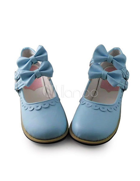 Matte Light Blue Lolita Shoes with Bows and Trim