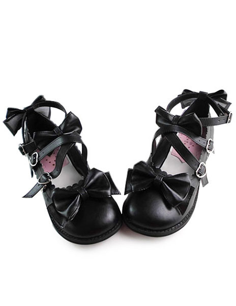 Matte Black Lolita Shoes with Sweet Bows