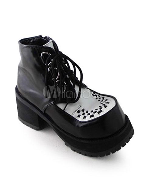 Zapatos Lolita Mate Negros Blancos Tacón Cuadrados CL5x7
