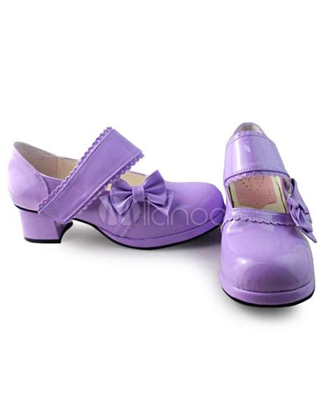 Brillante color púrpura Lolita tacones zapatos con arcos fgpECv4