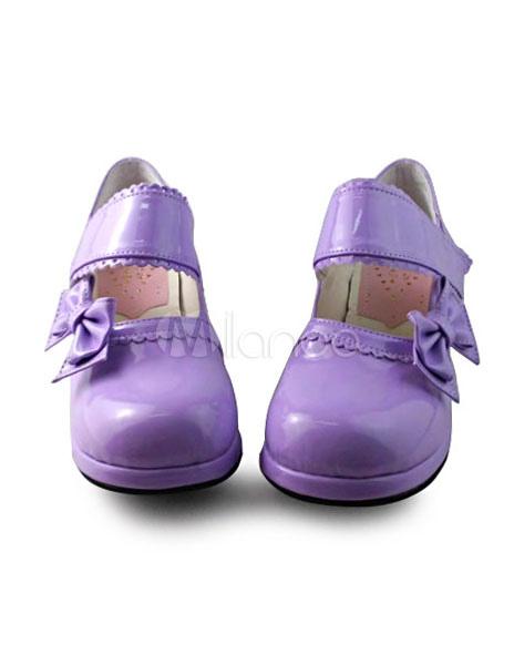 Brillante color púrpura Lolita tacones zapatos con arcos RYTL3P