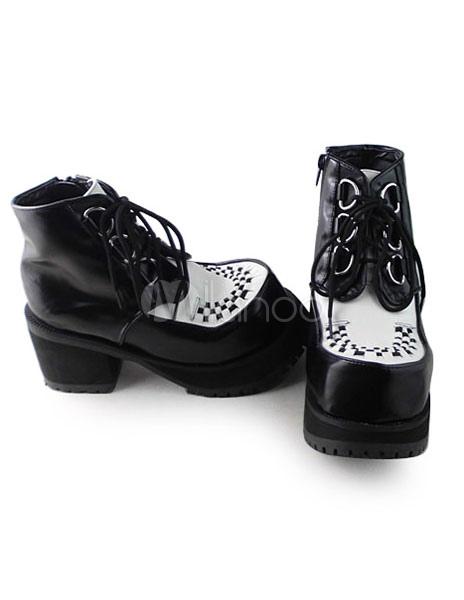 Zapatos Lolita Mate Negros Blancos Tacón Cuadrados wfSvMQybfE