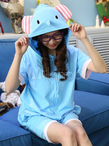 bc6bb57b16 Kigurumi Pajama Blue Elephant Onesie Adults Cotton Anime Costume For Summer -No.1
