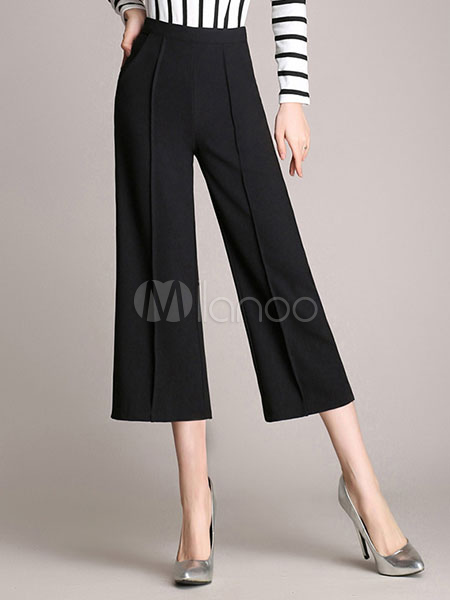 Buy Black Zipper Fly Wide Cotton Blend Elegant Cropped Pants for Woman for $26.99 in Milanoo store