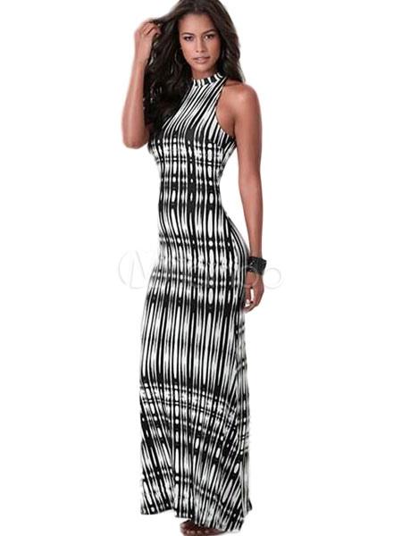 Sleeveless  Stripes Slim Fit Maxi Dress