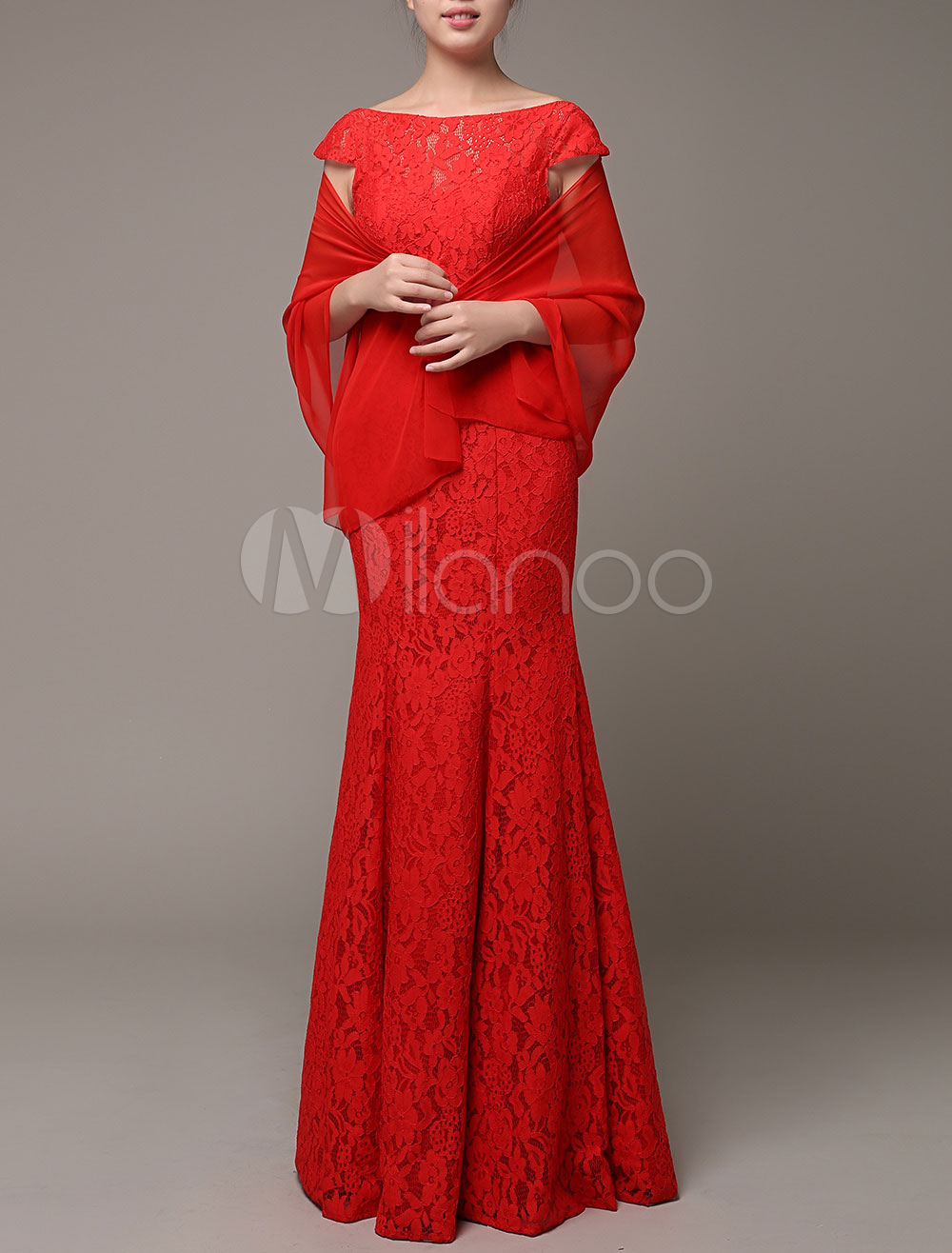 Red Bridal Wrap Chiffon Charming Shawl
