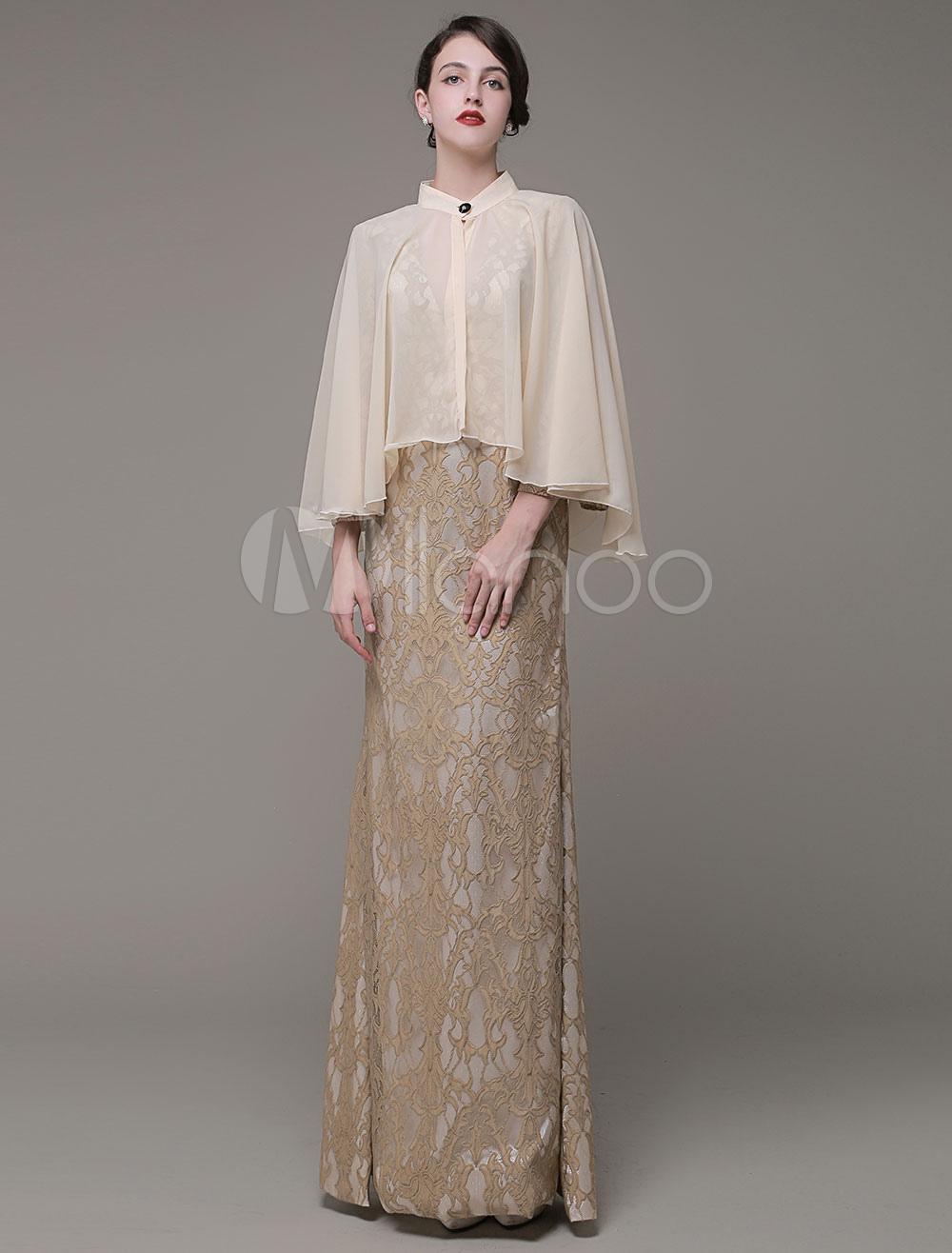 Asymmetrical Wedding Shawl Chiffon Bridal Wrap With Button