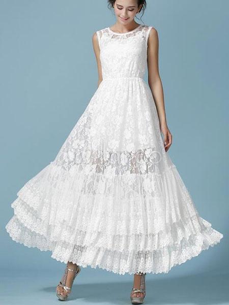 Am Besten Weißes langes Kleid ärmellos Spitze geschichteten Maxi-Kleid  BK04