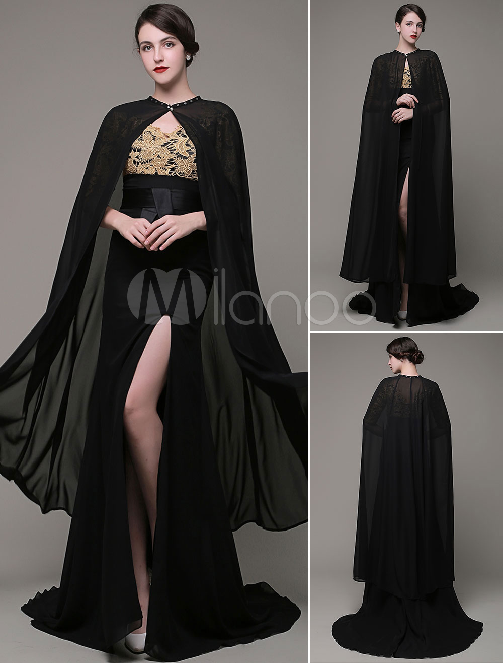 Black Bridal Shawl Long Wrap With Button