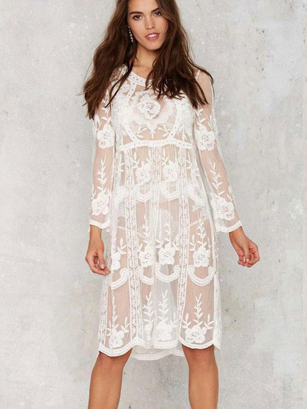 White Jewel Neck Lace Long Sleeve Tunic Dress Cheap clothes, free shipping worldwide