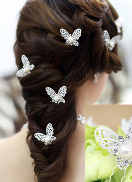 Buy Silver Wedding Headband Butterfly Pearl Bridal Hairpin for $6.99 in Milanoo store