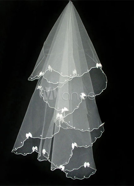 Elbow Wedding Veil One-Tier Tulle Drop Scalloped Edge Veil(140*130cm)