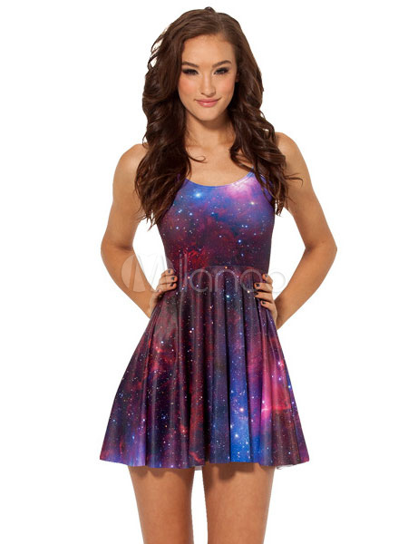 Galaxy Print Print Pleated Lilac Summer Dress