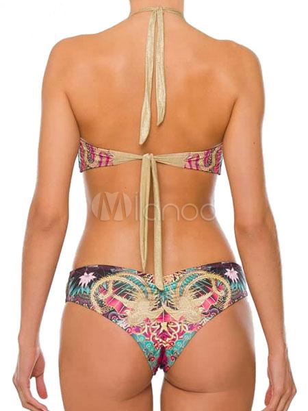 eee56c841aace ... Sexy Boho Swimsuit Cut Out Khaki Artwork Print Women Monokini Swimwear -No.3