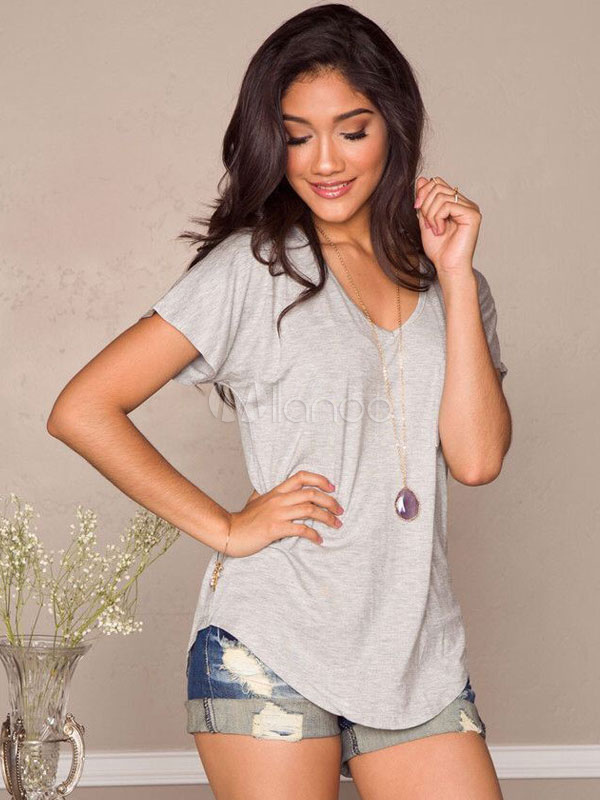 Short Sleeves V-Neck Asymmetrical T-Shirt Cheap clothes, free shipping worldwide