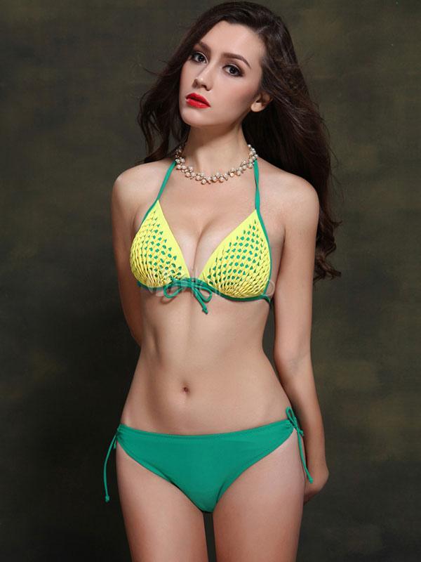 Bow push up bikini costume da bagno 2018 halter donne sexy - Donne senza costume da bagno ...