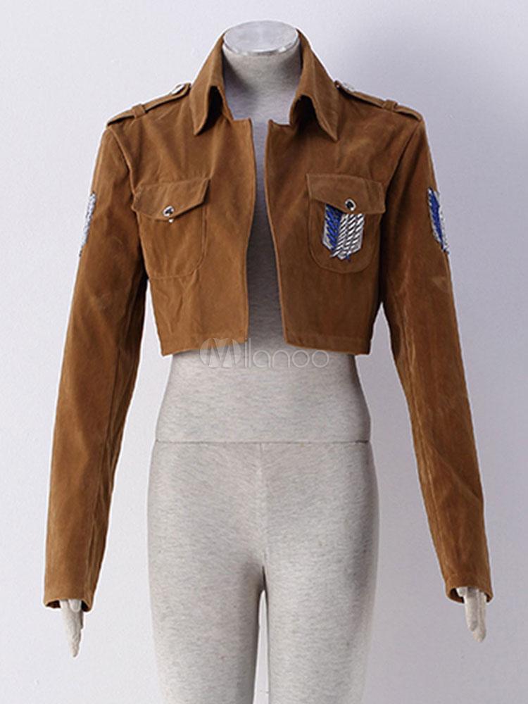 Buy Attack On Titan Eren Jaeger Levi Cosplay Costume Shingeki no Kyojin Survey Corps Scout Regiment Jacket Cosplay Costume Halloween for $29.69 in Milanoo store