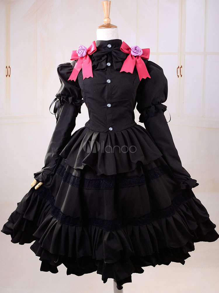 Buy Sweet Black Cotton Lolita One-piece Dress Long Sleeves Layered Ruffles Bow for $74.69 in Milanoo store
