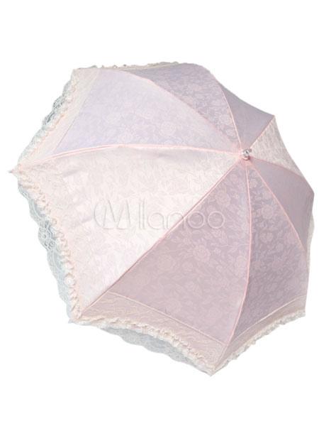 Sweet Pink Lolita Princess Parasol Two-fold Flower Print