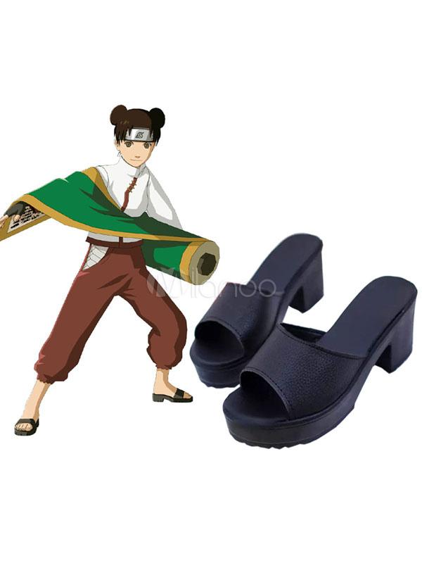 Naruto Ten Ten Cosplay Shoes Anime Black Ninja Sandal  Halloween